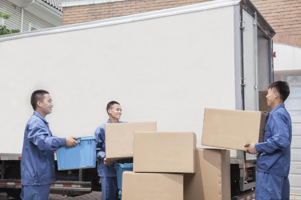 loading boxes into a moving truck